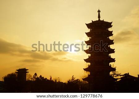 Chinese pagoda silhouette in Shanghai