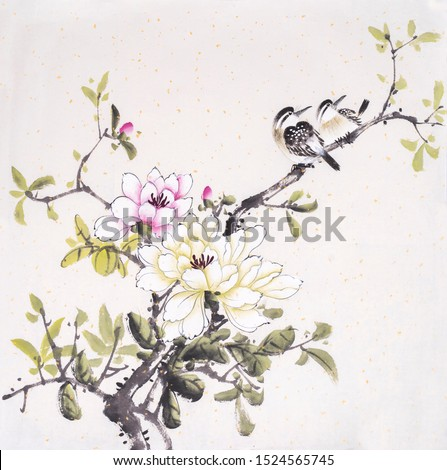 Chinese painting of blossoming magnolia tree with two birds