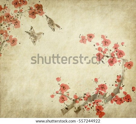 Chinese painting of flowers, plum blossom and bird, on old paper background.