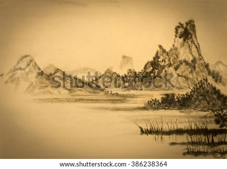Chinese painting of mountains and clouds