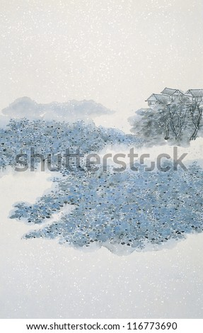 Chinese painting of snowing village