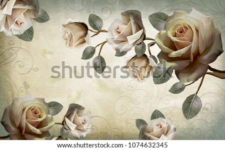 Chinese painting of white roses. 3D rendering.
