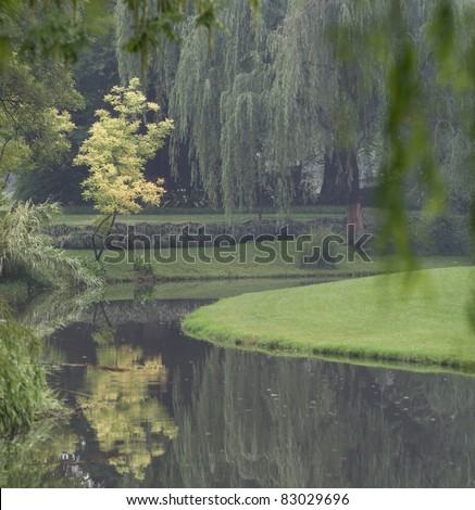 Chinese park in Hangzhou near Xihu Lake, China. Beautiful trees of willow with reflection on the river.
