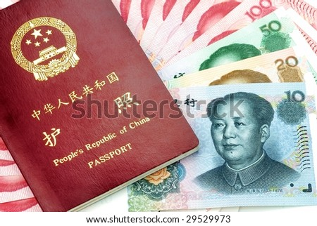 Chinese Passport and Chinese Yuan(RMB banknotes)