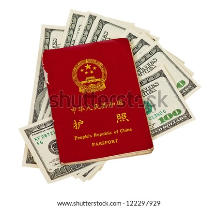 Chinese passport and money isolated on white background