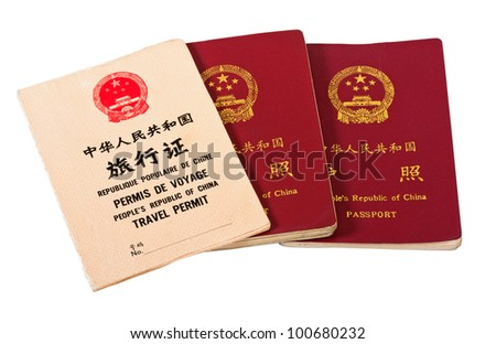 Chinese passports isolated on white background