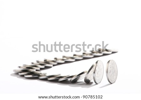 chinese pennise.Domino effect. Isolated on the white background