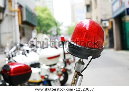Chinese policeman's  motorcycles with red lamp