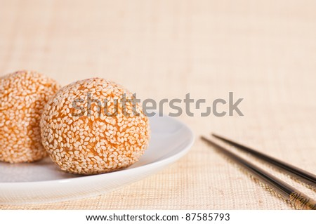 Chinese red bean pastry  coated with sesame seeds and deep fried