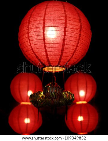 Chinese red lamp at night