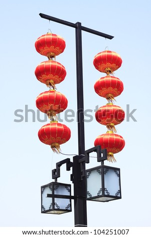 Chinese red lanterns hanging,Isolated on the background