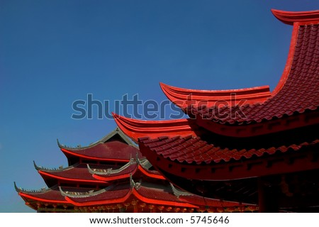 chinese red temple roof
