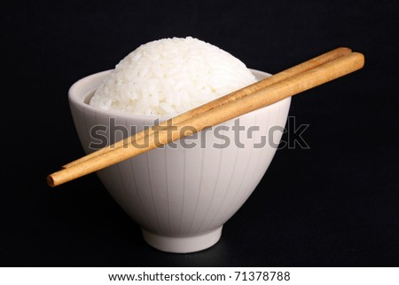 chinese rice and chopsticks - stock photo