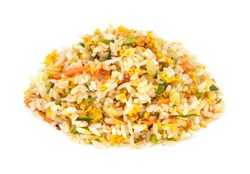 Chinese rice with mixed vegetables and scrambled eggs omelette. Cantonese rice isolated on white. Typical dish from chinese restaurant or take away, delicious and nutritious  plate for a meal or lunch