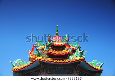 Chinese roof style and blue sky