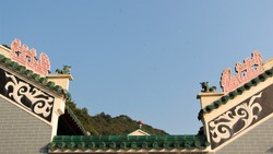 Chinese rooftop decorations , dragon monster statue, totem in temple