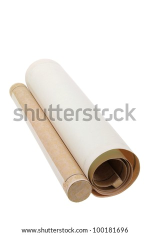 Chinese Scroll on White Background