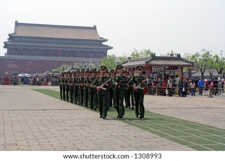 Chinese soldiers marching at the Beijing forbidden city