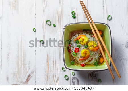 Chinese soup with shrimp and rice noodles