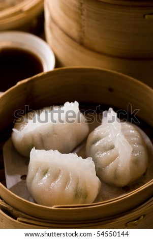 Chinese specialties: buns and dumplings - stock photo