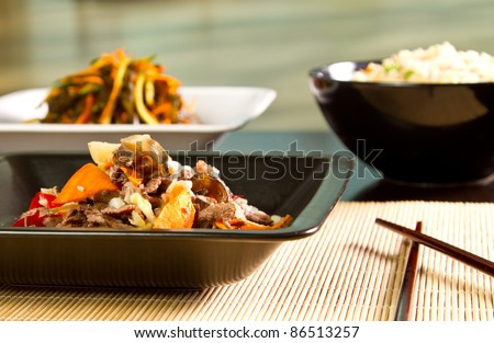 Chinese specialty with beef and vegetables