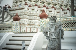 Chinese statue in Wat Arun temple in Bangkok, Thailand