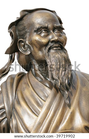 Chinese statue  of Confucius isolated on white background.