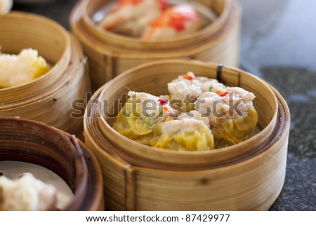 Chinese Streamed Dumpling in Bamboo Basket