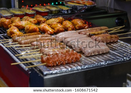 Chinese street food. Street trading. Chinese kinds of fresh seafood at an asian seafood market in Sanya, Hainan province,