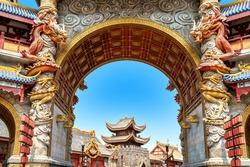 Chinese-style ancient architecture, Hainan, China.