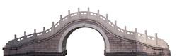 Chinese style bridge located at the Summer Palace (Beijing, China) isolated on white background