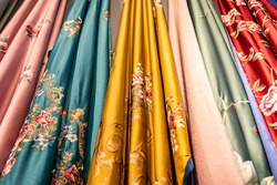 Chinese style classical embroidery satin curtain drapery fabric model