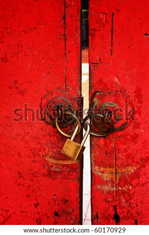 Chinese style door used as background