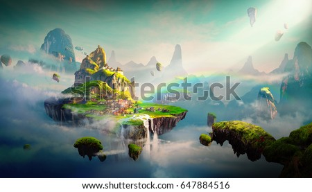 Chinese style fantasy scenes,3d rendering.