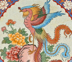 Chinese style painting on wall of shrine in Thailand