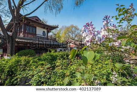 Chinese style park well-known as 'baotuquan park' with ancient pavilion -Jinan, China #402137089