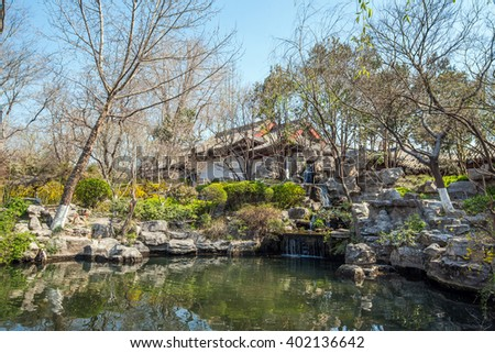 Chinese style park well-known as 'baotuquan park' with natural spring water and ancient pavilion -Jinan, China #402136642
