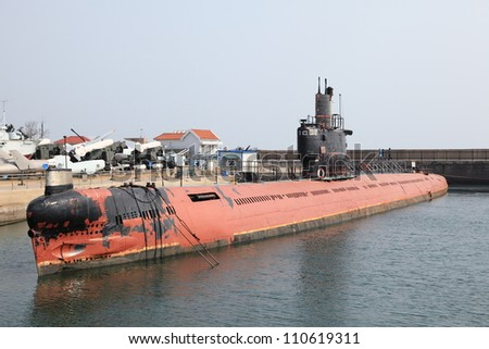Chinese submarine parked at Qingdao harbour, China