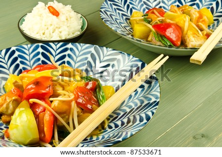 Chinese sweet and sour stir fry - stock photo