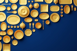 Chinese tableware bowl, cup, pot, teapot, chopstick, plate and dish 3D rendering multiple gold color, Food asian culture concept design on blue background with copy space