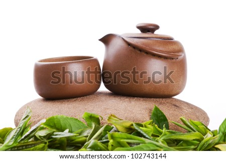 chinese tea ceremony set with white background with space for your text and image
