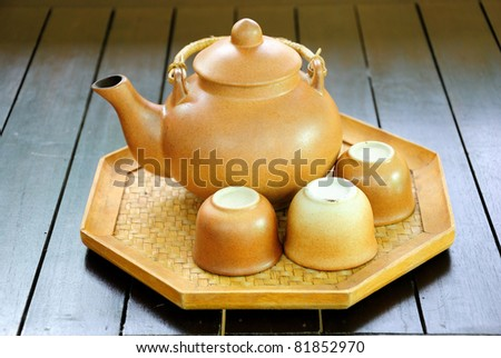 Chinese tea set with pot and cups