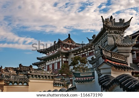 "Chinese temple (more than 1000 years of history, ""South Putuo Temple in ningbo, China)"