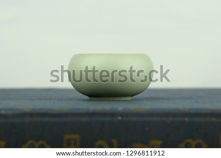 Chinese traditional culture, kiln celadon teacup still life close up, tea ceremony utensils antiques #1296811912