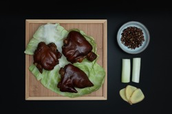 Chinese traditional delicacy marinated pig's feet.Braised pork trotters