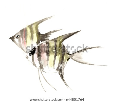 Chinese traditional distinguished gorgeous decorative hand-painted ink-a magic fish angel fish angelfish
