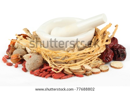Chinese traditional herbs or medicine on white background.