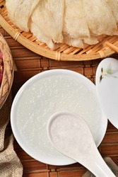 Chinese traditional medical products bird's nest soup on table