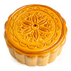 Chinese Traditional Mooncake, exotic pastry for Mid-Autumn Festival, isolated on white background. Clipping path