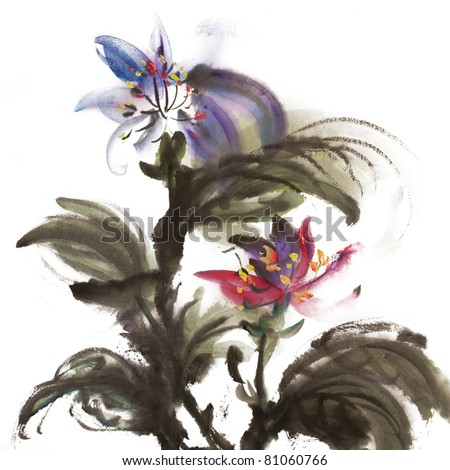 Chinese traditional painting of ink artwork with colorful flowers on white art paper.
